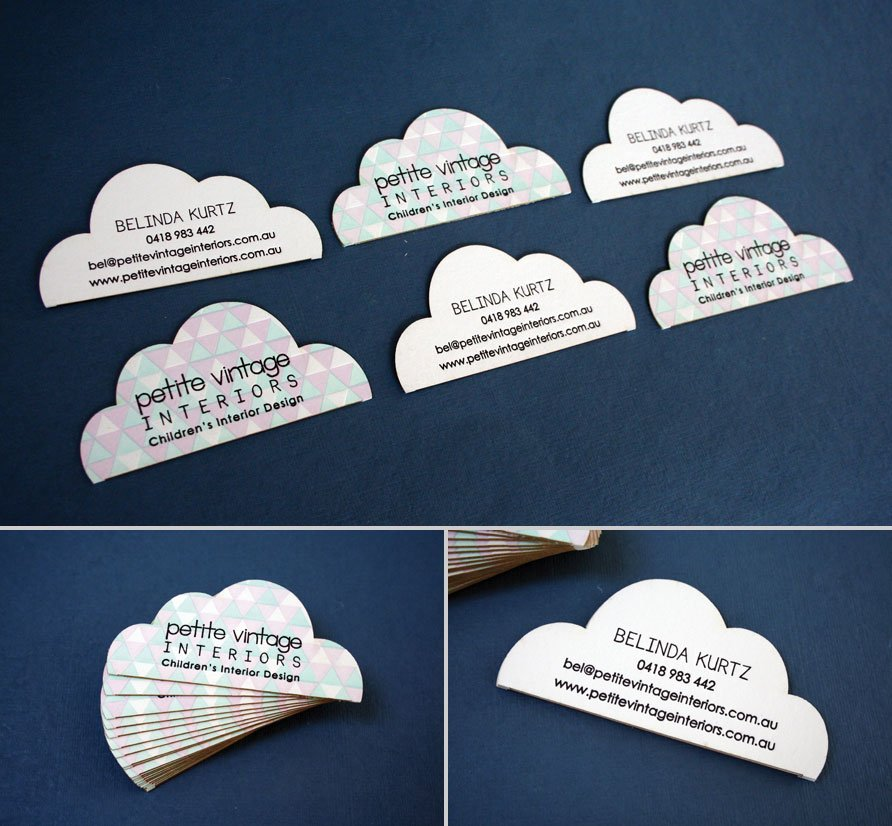 Custom business cards petite vintage interiors twin ravens press the front of each card has the company logo and is reminiscent of the cloud logo on their website the back side has bels name and contact information reheart Images