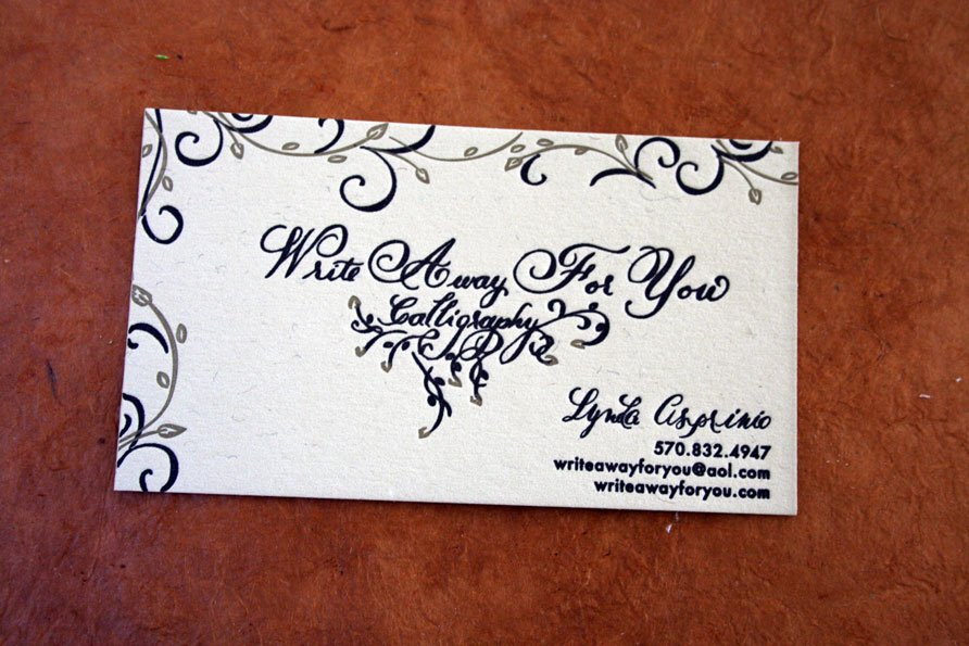 Custom Business Cards | Write Away For You Calligraphy - Twin Ravens ...