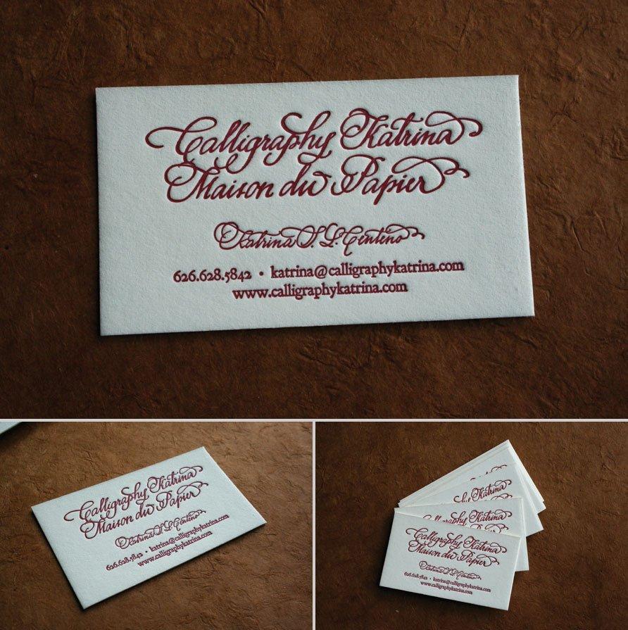 custom business cards calligraphy katrina maison du. Black Bedroom Furniture Sets. Home Design Ideas