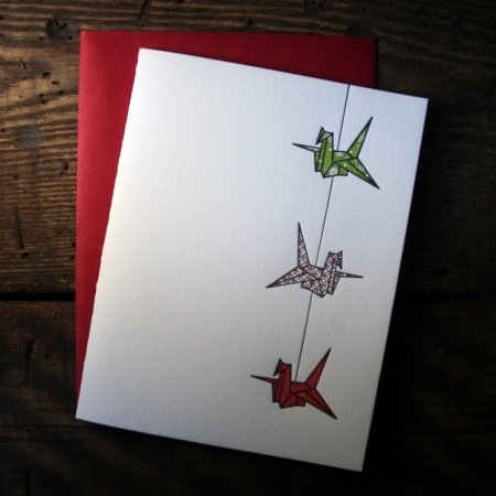 String of Cranes - Green, Copper, & Red