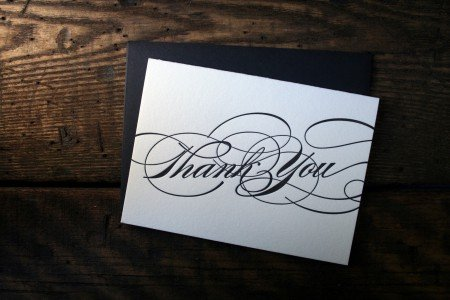Letterpress thank you cards by Twin Ravens Press, Eugene, Oregon.