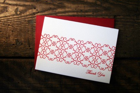 Letterpress Thank You Cards from Twin Ravens Press in Eugene, Oregon.