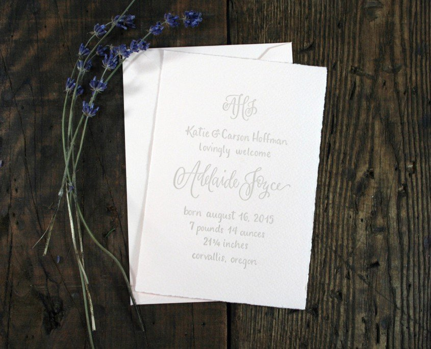 Birth Announcement for Adelaide Hoffman