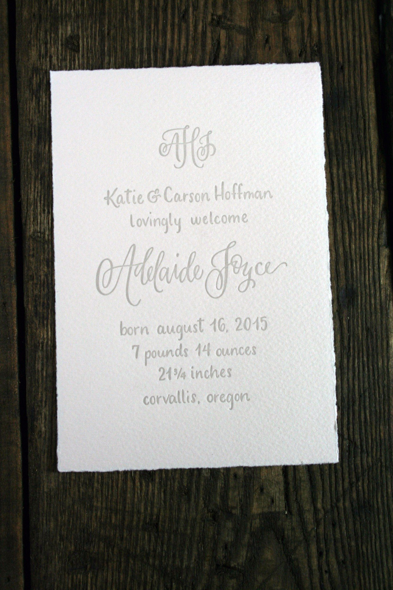 letterpress birth announcements archives twin ravens press
