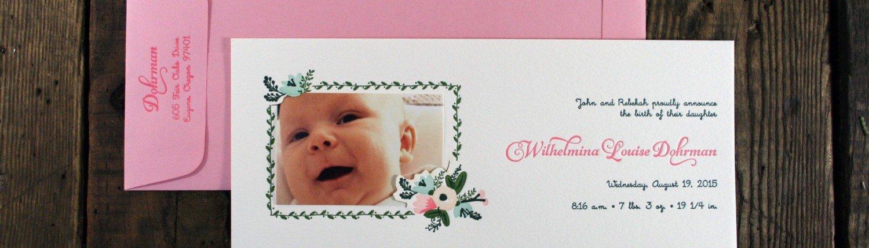 Birth Announcement for Wilhelmina Dohrman
