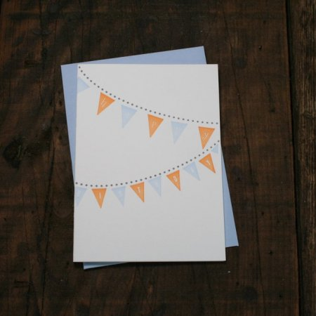 Blue + Orange Birthday Pennants Card
