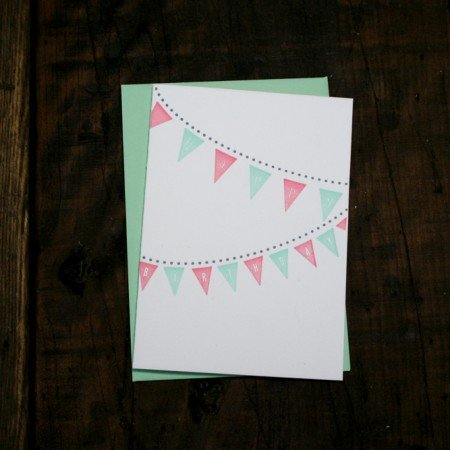 Pink + Green Birthday Pennants Card