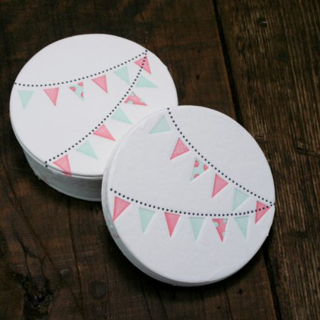 Pennant Coasters - Pink + Green