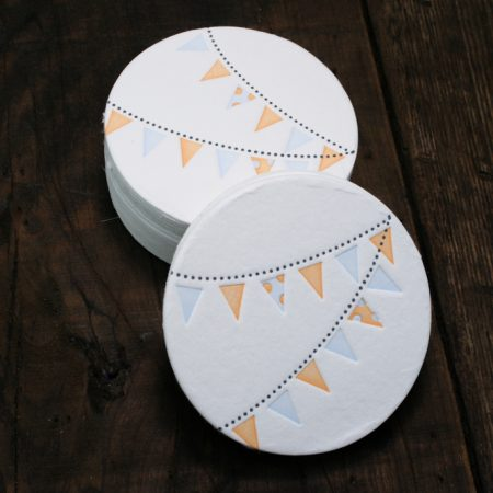 Pennant Coasters - Orange + Blue